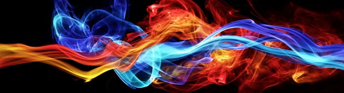 Swirling image of fire and ice