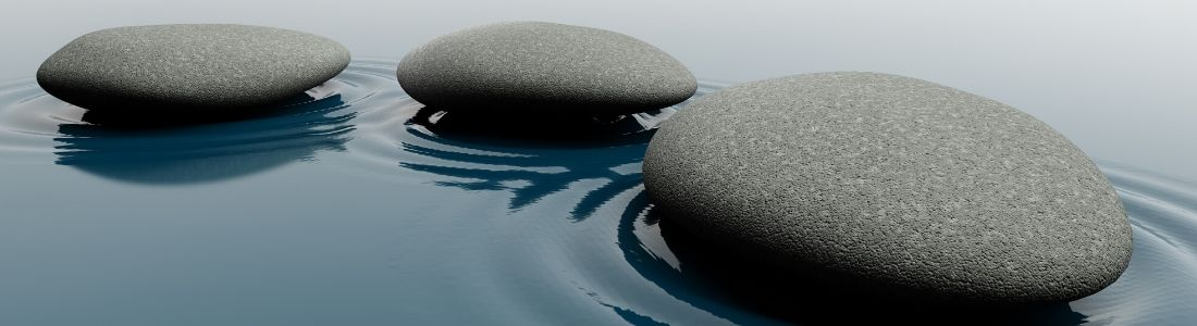 Three stepping stones in water
